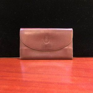 Vintage Cartier Red Bordeaux Leather Clutch